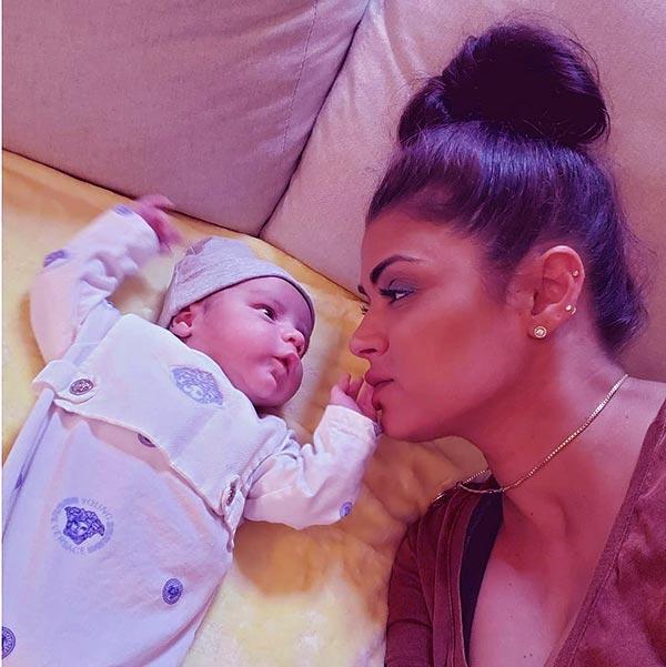 Image of Golnesa Gharachedaghi with her baby Elijah Javad Gharachedaghi