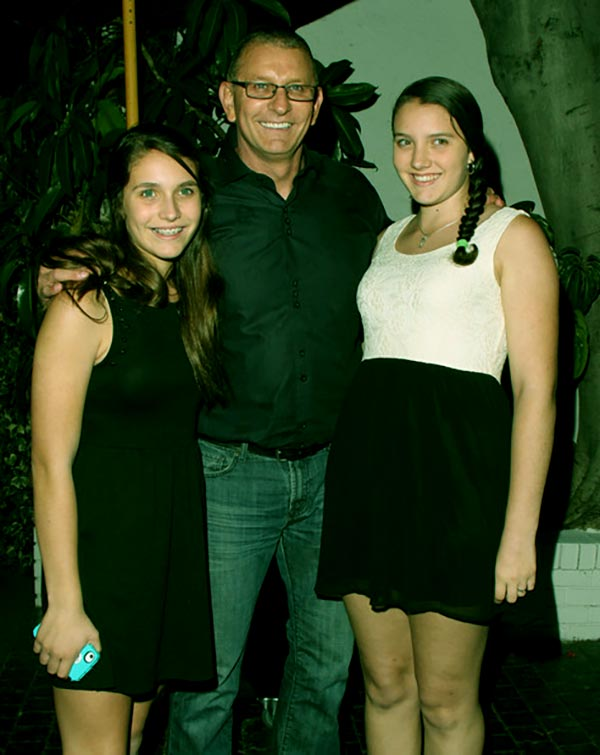 Image of Robert Irvine with daughters Annalise Irvine and Talia Irvine at Chateau Marmont in West Hollywood.